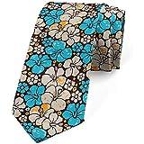 Cravatta, fiori femminili vintage, azzurro azzurro