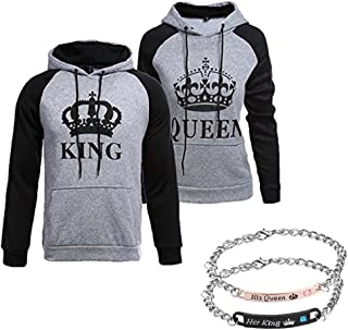 King Queen Matching Couple Hoodies His and Her Pullover Hoodie Sweatshirts and Bracelets