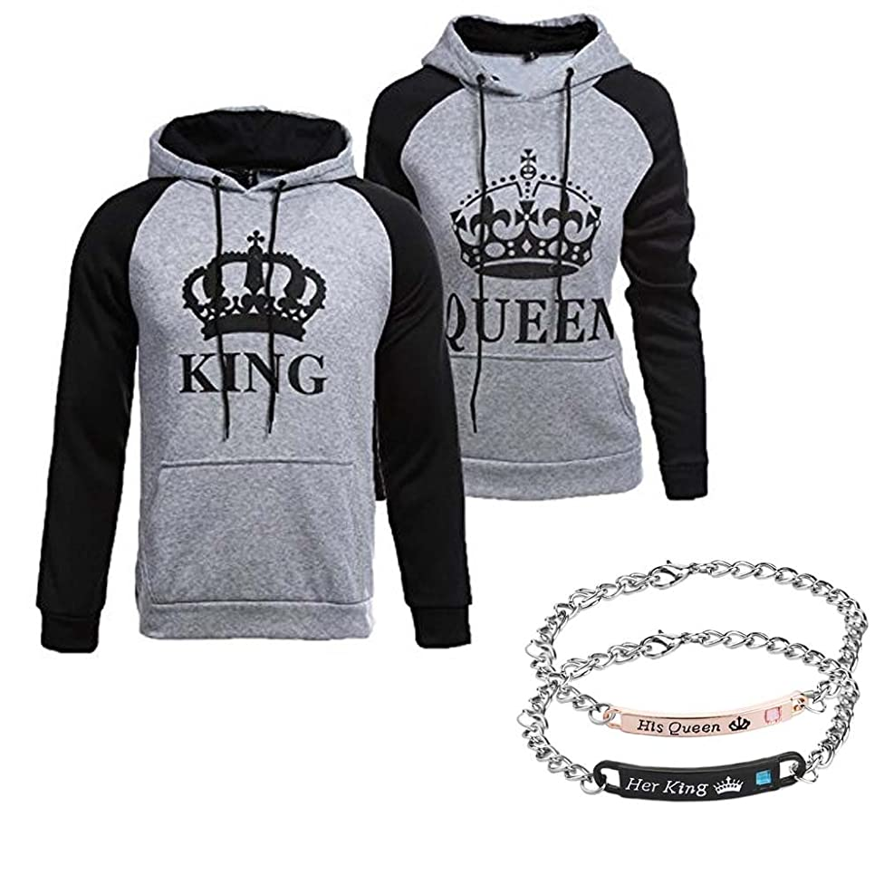 YJQ King Queen Matching Couple Hoodies His and Her Pullover Hoodie Sweatshirts and Bracelets