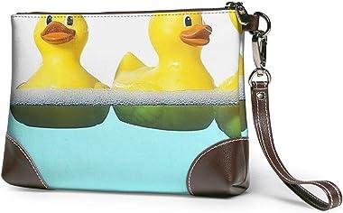 Ahdyr pochette en cuir pour femme Sacs à main Pochette Portefeuilles pour téléphone Canard jaune dans la piscine Petit sac à