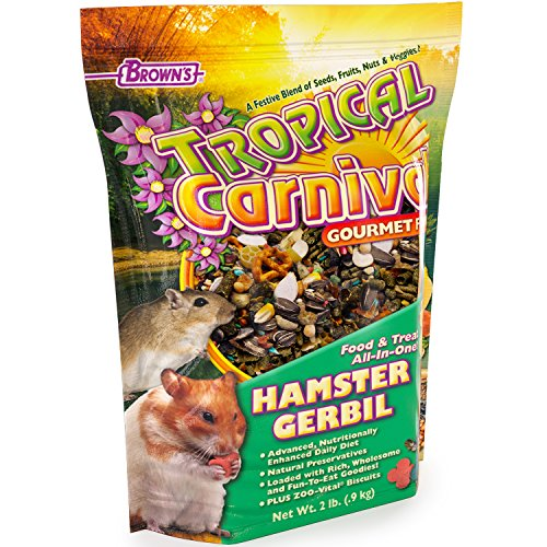 F.M. Brown's Tropical Carnival Gourmet Hamster and Gerbil Food with Fruits, Veggies, Seeds, and Grains, 2-lb Bag - Vitamin-Nutrient Fortified Daily Diet