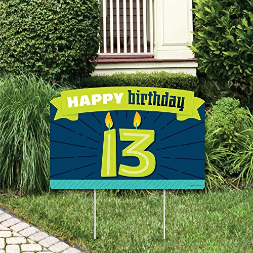 Big Dot of Happiness Boy 13th Birthday - Official Teenager Birthday Party Yard Sign Lawn Decorations - Happy Birthday Party Yardy Sign