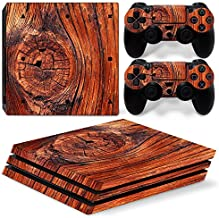 DAPANZ Wood Vinyl Skin Sticker Decal Cover for Sony Playstation 4 Pro Console and DualShock 4 Controller Skin