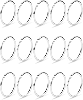 Dyknasz 15-30Pcs 22-18G Nose Rings Hoop Surgical Steel Fake Nose Ring Tragus Cartilage Helix Piercing Earring Hoops Septum Lip Ring 6-14MM for Women Men