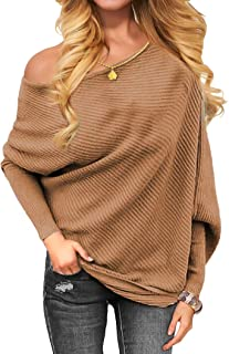 VOIANLIMO Women's Off Shoulder Knit Jumper Long Sleeve...