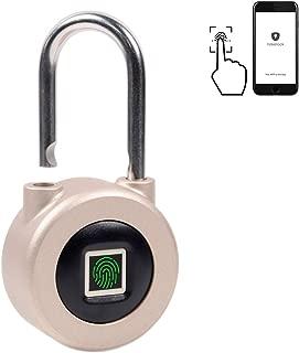Fingerprint Biometric Bluetooth Padlock Metal Keyless Gym Lock for Portable Luggage Travel Lock Rechargeable USB Backpack Padlock and Cabinet Locker Lock for Office Drawer Suitcase Lock (Gold)