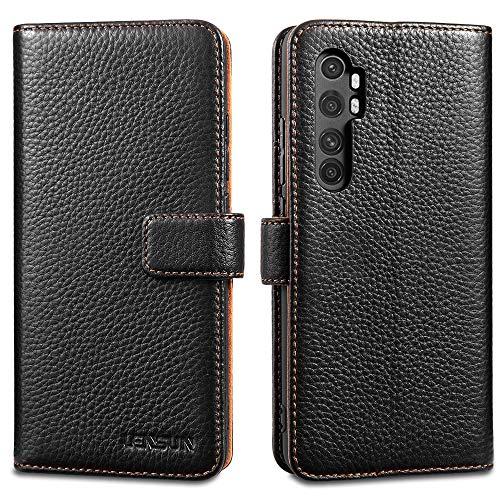 LENSUN Funda Xiaomi Mi Note 10 Lite, Funda de Cuero Genuino con Tapa Magnético y Ranuras para Tarjetas Carcasa Libro Protección para Xiaomi Mi Note 10 Lite – Negro (MN10L-LG-BK)
