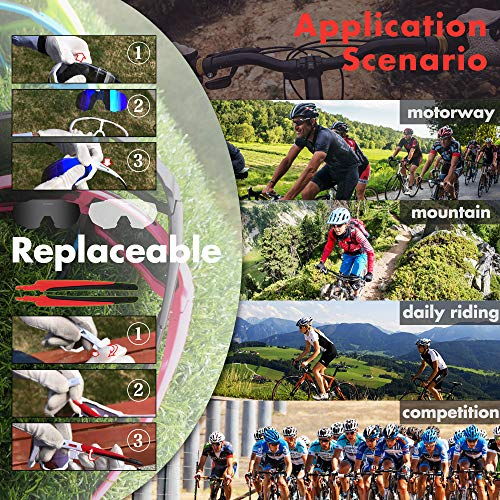 Queshark Radbrille Polarisierte Sportbrille Fahrradbrille mit UV-Schutz 3 Wechselgläser für Herren Damen, für Outdooraktivitäten wie Radfahren Laufen Klettern Autofahren Angeln Golf (Blau) - 4