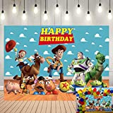 Toy Story Birthday Party Supplies Photography Backdrops Kids Birthday Party Cake Table Decoration Banner Background Baby Shower Blue Sky Indoor Party Photo Studio Props 5x3ft