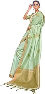 بلوزة ساري ناعمة من الحرير بناراسي هندي مصممة تقليدية خضراء للسيدات من تصميم بوليوود 5760