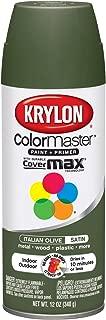 Krylon K05352207 ColorMaster Paint + Primer, Satin, Italian Olive, 12 oz.