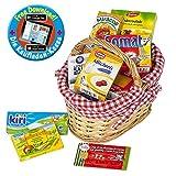 Polly Kaufladen Zubehör Set Roter Weidenkorb gefüllt mit Miniaturen | Kinder Spielzeug für den Kaufmannsladen | Kinderkaufladen
