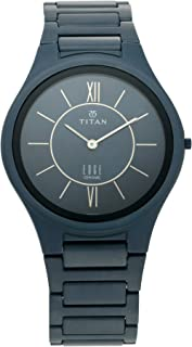 Titan Edge Ceramic Analog Blue Dial Men's Watch-1696QC05