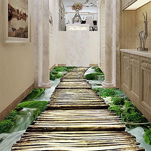 Papel tapiz fotográfico personalizado 3D Stream Puente de madera Azulejos de suelo Murales Pegatina Sala de estar Pasillos de hotel Piso PVC Wear Papeles de pared-150x105cm