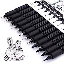 TWOHANDS Micro Pen Set, Fineliner Ink Pens, Pigment Pen, Technical Drawing, Black, Waterproof, for Art Watercolor, Sketchi...