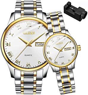 His and Her Couple Watches Business Men Women Couple Set Pair Watch Matching Romantic Quartz Stainless Steel Waterproof Date