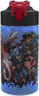 زجاجة مياه مع مصاصة من Zak Designs Marvel Comics - Captain America وIron Man & Groot