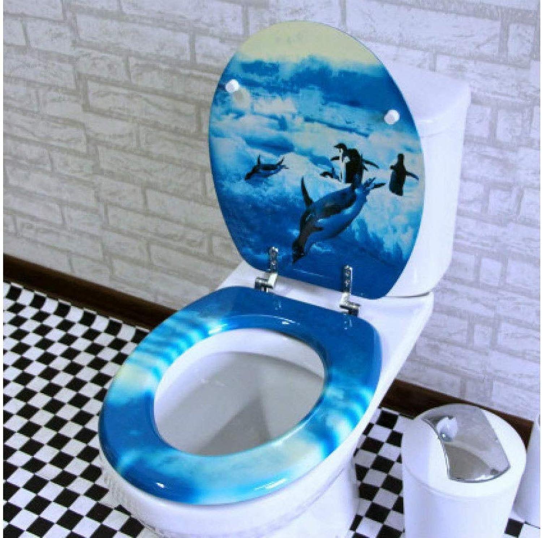 Toilleten Sitz Toilettensitz-Pinguin-Toilettensitz mit MDF, der nicht verlangsamt wird, verdicken oben montiertes ultra-Bestendiges einfach, Toiletten-Deckel für U   O   V-Form-Toilette anzubringen An