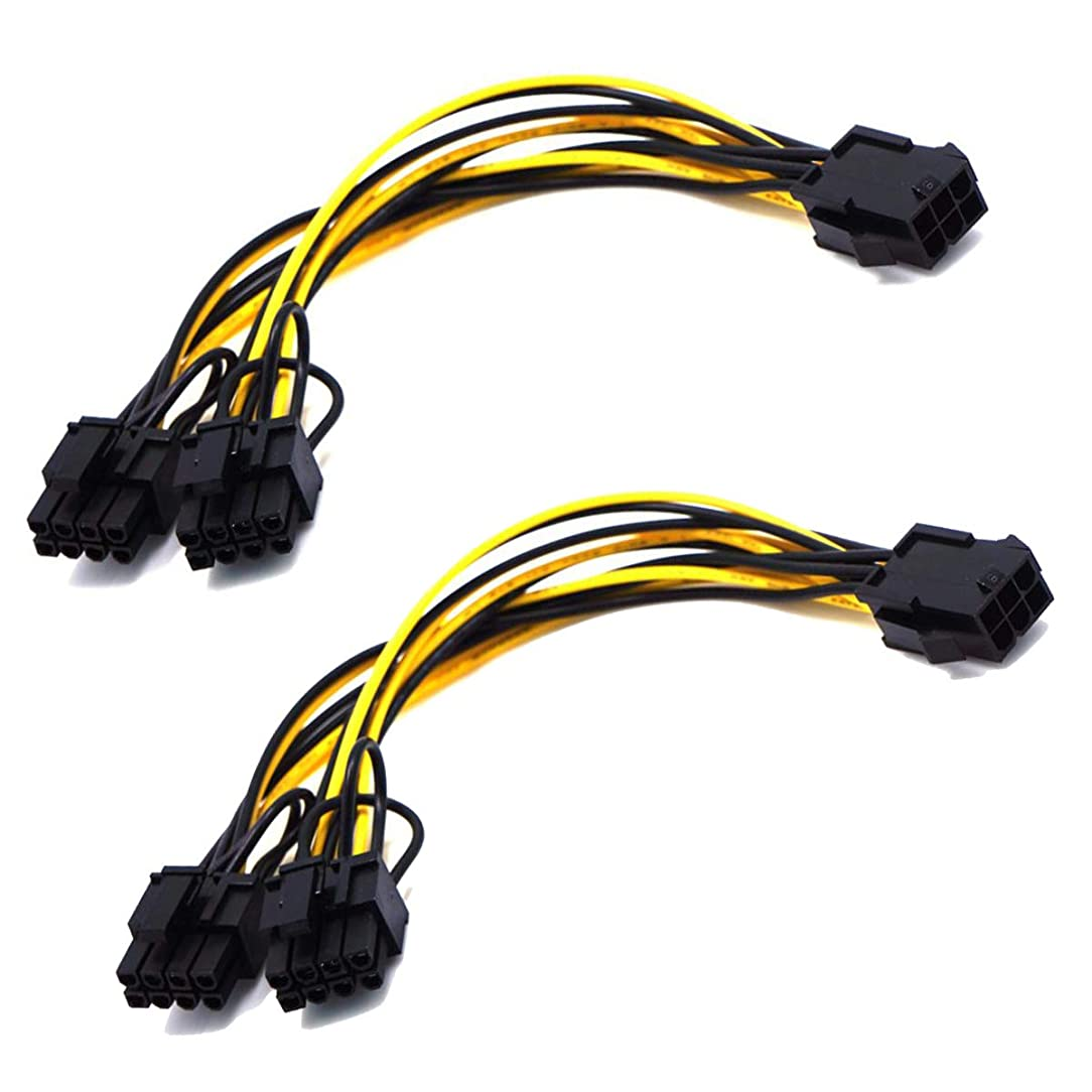 2 Pack 6 Pin to Dual PCIe 8 Pin (6+2) Graphics Card PCI Express Power Adapter GPU VGA Y-Splitter Extension Cable Mining Video Card Power Cable 8-inch (20cm) (6Pin-8Pin Cable (Splitter))