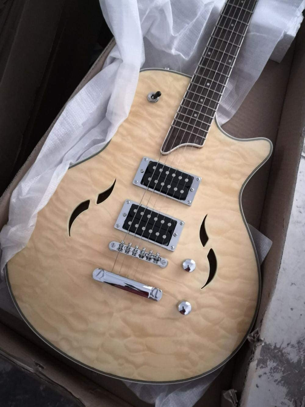 LYNLYN Guitarras Guitarra Eléctrica Arce Forrada Semi Hueca Guitarra 6 Cuerdas Guitarra Eléctrica Acústica Acústica Cuerda Guitarras Guitarra eléctrica