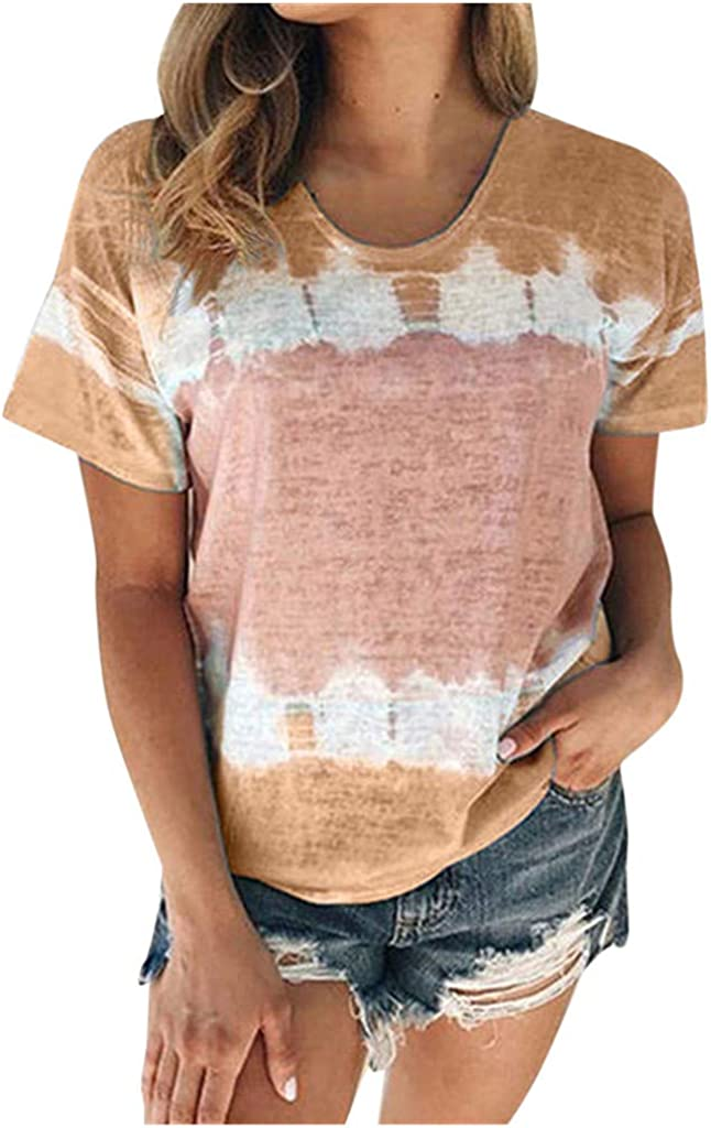 AODONG Summer Tops for Women, Womens Summer Tie Dye Short Sleeve T Shirts Casual Loose Basic Tee Tops and Blouses