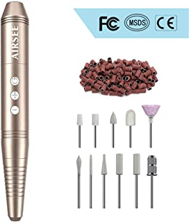 Portable Rechargeable Nail Drill Machine, Professional Cordless 20000 RPM Efile, Nail File Kit for Acrylic, Gel Nails, Manicure Pedicure Polishing Shape with 11 Bits and 56Pcs Sanding Bands.