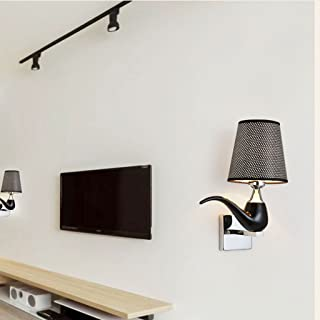 MX Light Fixture Modern Minimalist Bedroom Living Room Personalized Creative Resin Cloth Wall Lamp (Color : Black)