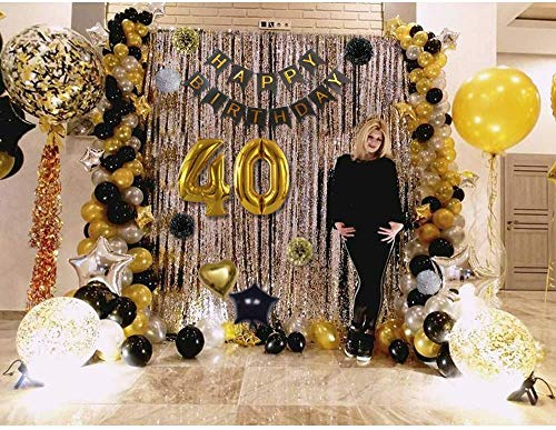 40th Birthday Party Decorations For Men Including Happy Birthday Banners Confetti Balloons Latex Black Gold And White Balloon And Foil Balloons 39pcs Party Propz Online Party Supply And Birthday Decoration Product