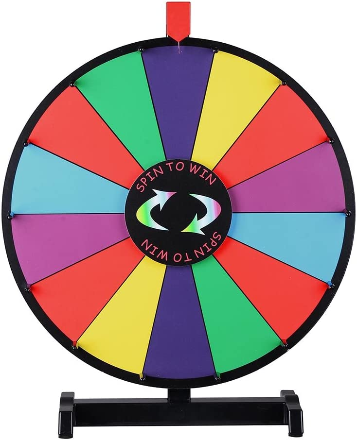 WinSpin Store 18-inch Round Tabletop Color Prize Slot Credence Wheel 14 Clicker