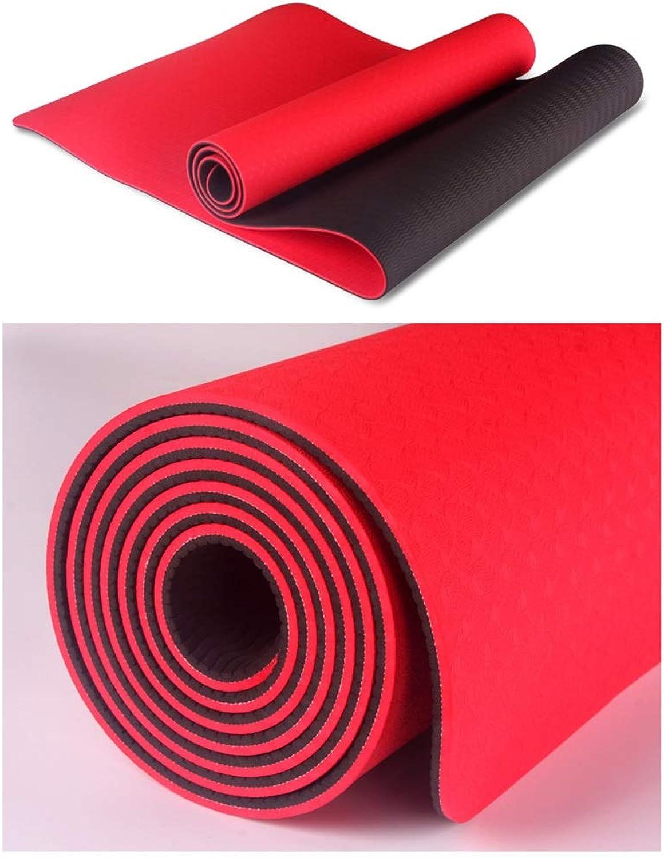 L-HOME Zweifarbige TPE-Yogamatte verlngerte Fitnessmatte 183  61  0,6 (cm)   umweltfreundliche geschmacklose Rutschfeste Yogamatte