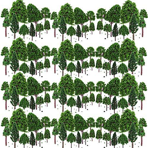 BESTZY 50PCS Model Trees Mixed Model Tree Diorama Tree Train Trees Railroad Scenery for DIY Scenery Landscape Natural Green(30mm-70mm)