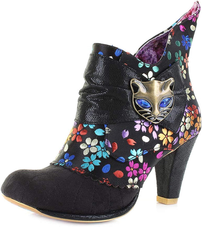 Irregular Choice Womens Miaow Black Print Heeled Ankle Boots Size