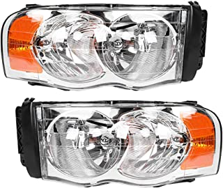 Left & Right Pair Headlights Headlamps Assembly Chrome Housing with Amber Reflector Fit For Dodge Ram Pickup Truck 1500 2002-2008 2500 3500 2003-2009 55077121AF 55077120AG(Passenger and Driver side)