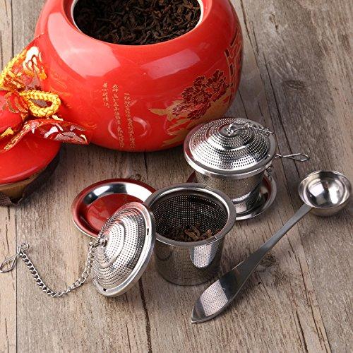 OUNONA Tee-ei Sieb Tee Rostfreier Stahl (2 Stück) mit Tee-Scoop und Auffangwannen - 8
