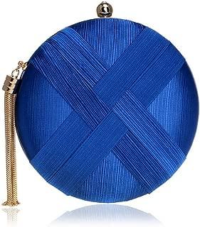 Redland Art Women's Fashion Polyester Woven Round Mini Clutch Bag Wristlet Shoulder Crossbody Evening Handbag Catching Purse for Wedding Party (Color : Blue)