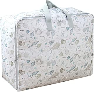 Monique Print Duffel Tote Waterproof Closet Luggage Quilts Clothes Storage Laundry Bag Handbag, Oxford, Shell, Large