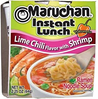 Maruchan Instant Lunch Lime Chili Flavor with Shrimp Soup noodle 2.25oz, pack of 1