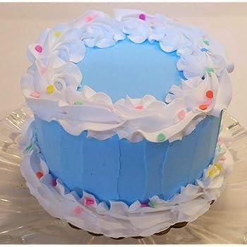 Astounding Amazon Com Dezicakes Fake Cake 6 Blue Birthday Cake Faux Cake Personalised Birthday Cards Fashionlily Jamesorg