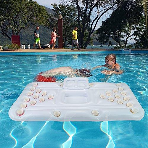 GOTOTOP Aufblasbare Matratze Pool Strand Schwimmende Weiße Boje Bier Tisch Spiel Ping Pong für Pool 180x80x15 cm (Aufblasbare Matratze)