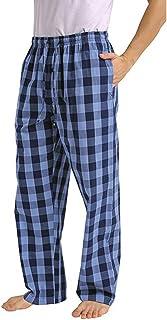 Pantalones de Pijama a Cuadros Sueltos Casuales de Moda para Hombre cómodo Casual pantalón Largo Pantalones Rectos otoño e Invierno Pantalones caseros Estampados