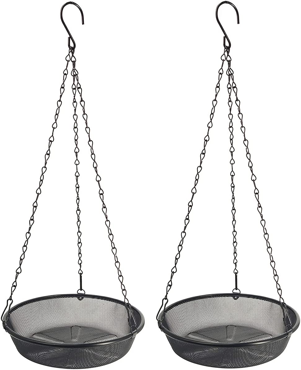 New Orleans Mall HHTHH 2 Pcs Black Manufacturer direct delivery Metal Mesh Hanging Bird Tray Feeder Wild