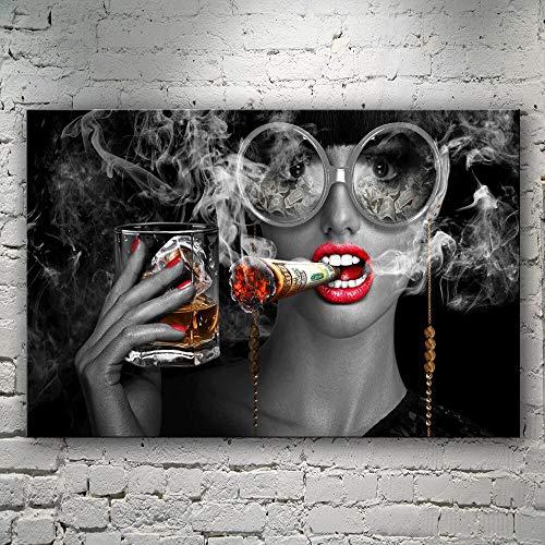 wZUN Simple Fumar Mujer Copa de Vino Copas Arte Pintura Cartel Impresiones Decorativas Arte de la Pared decoración del Partido 60x80 Sin Marco