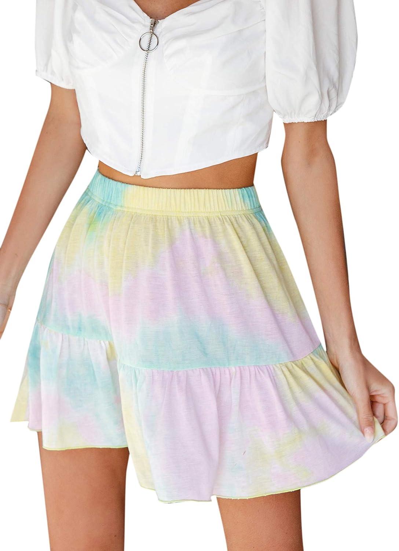 Milumia Casual Women Tie Dye Elastic High Waist Ruffle Summer Beach A Line Mini Skater Skirts