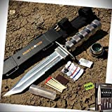 Hunt-Down 12' Chrome Color Fixed Blade Survival Stainless Steel Blade Knife - Survival Kit & Compass