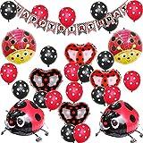 Paquete de 29 globos para caminar con diseño de mariquita, color rojo y negro, para cumpleaños, baby shower, decoración de fiestas, globos de aluminio de 18 pulgadas, globo de látex de 12 pulgadas