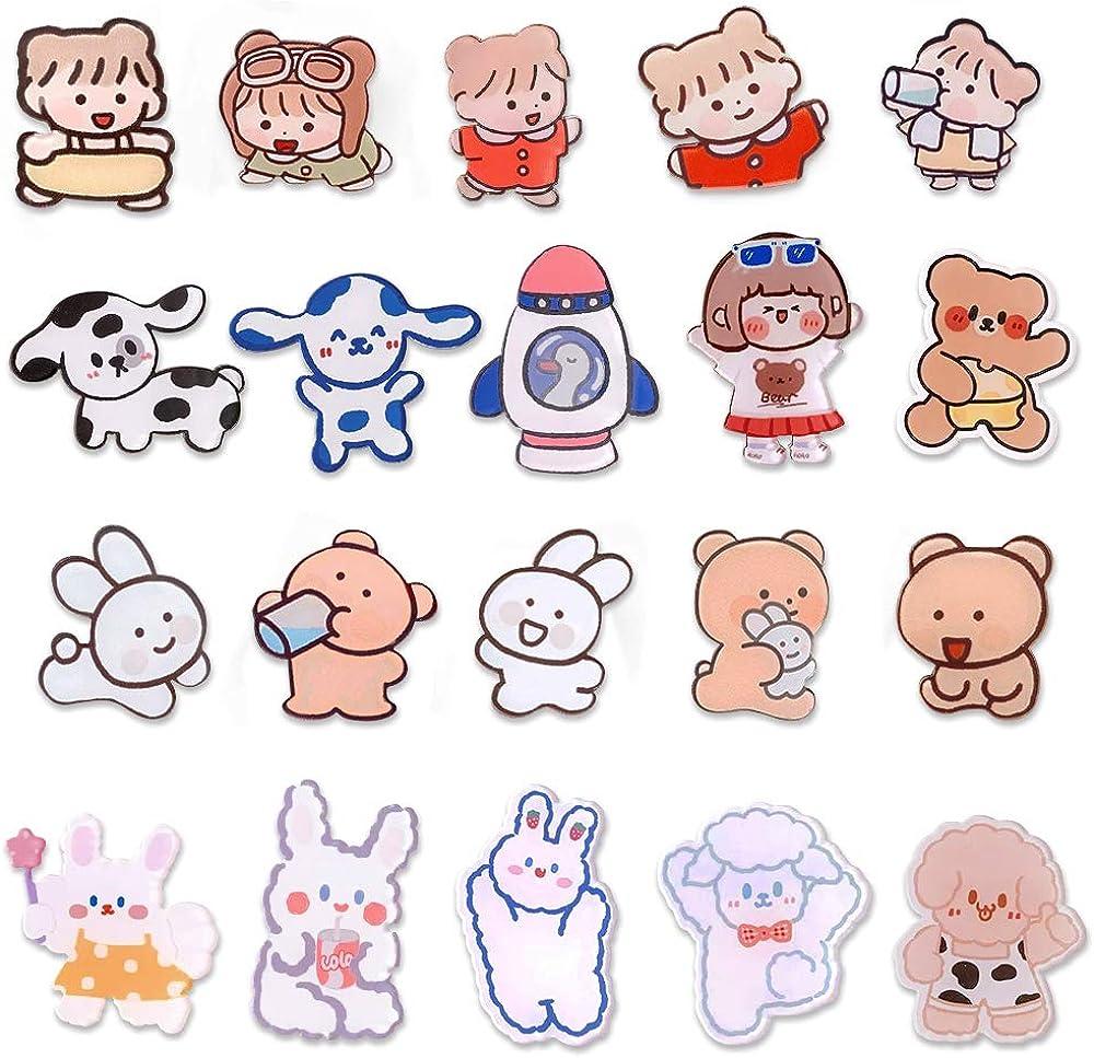 LZYMSZ 20 PCS Cartoon Acrylic Brooch Pins Set, Cute Aesthetic Lapel Badges Pin, 20 Styles Pattern Sheep Dog Rabbit Bear Girl Brooch Pin for DIY Clothing Bags Jackets Hat Backpacks