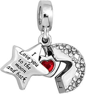 DemiJewelry I Love You to The Moon and Back Heart Crystal Charms Beads for Charm Bracelets for Girls