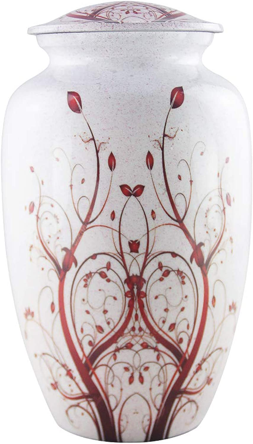 MEILINXU - Funeral Urns for Adults Ashes, Cremation Urn for Human Ashes - Memorials Urns for Ashes -Display Burial Urn at Home or in Niche at Columbarium (Red Flower of Life, Aluminum Large White Urn