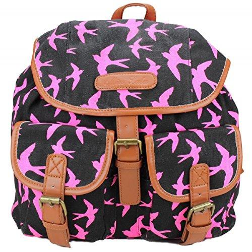 Sac à dos en toile avec motif hirondelle Noir/rose