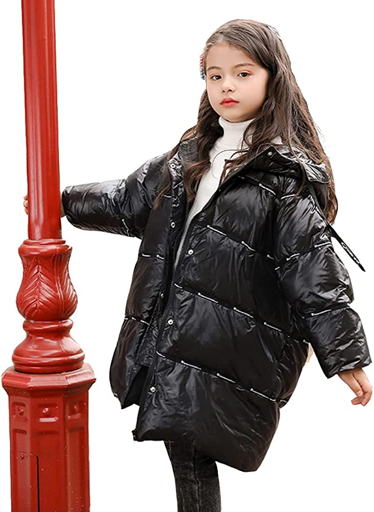 WX-ICZY Mid-Length Down Jacket for Girls, Thickened Shiny Fur Collar and Long Warm Winter Down Jacket